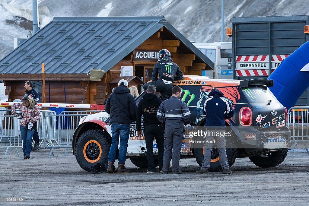 <a gi-track='captionPersonalityLinkClicked' href=/galleries/search?phrase=Guerlain+Chicherit&family=editorial&specificpeople=2093824 ng-click='$event.stopPropagation()'>Guerlain Chicherit</a> goes into his car as he attempts the World Record Longest Car Jump, during which he crashed his car on March 18, 2014 in Tignes, France.