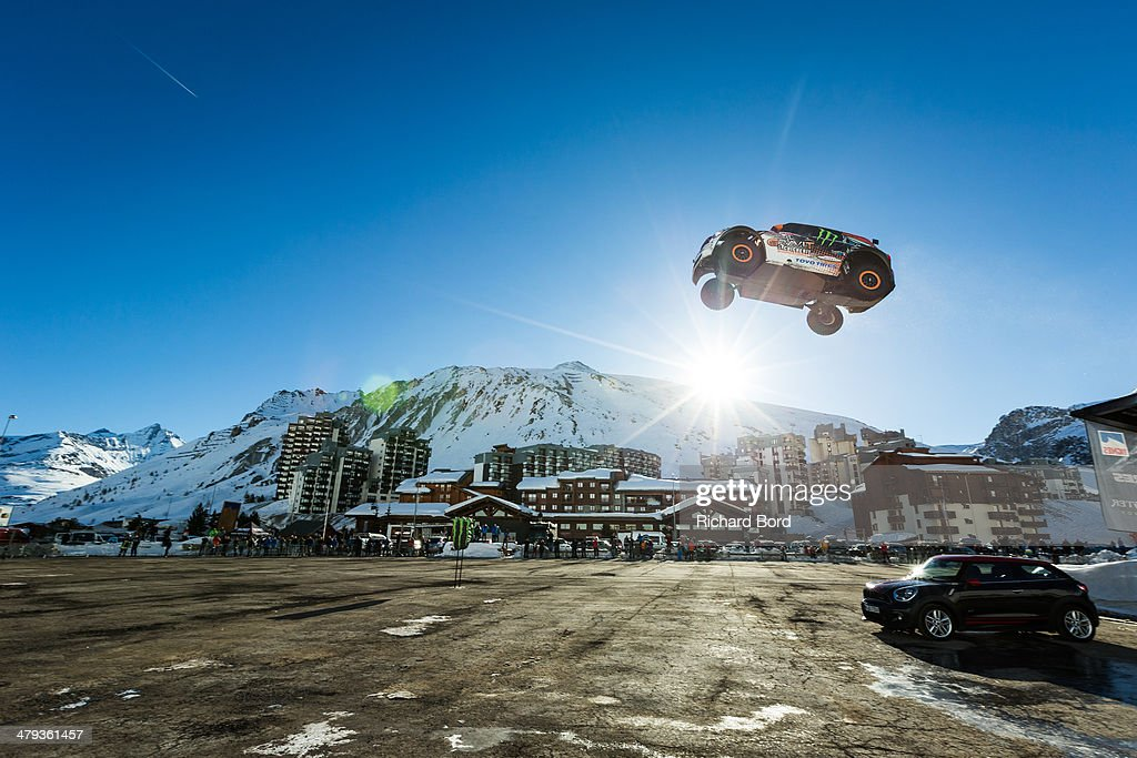 <a gi-track='captionPersonalityLinkClicked' href=/galleries/search?phrase=Guerlain+Chicherit&family=editorial&specificpeople=2093824 ng-click='$event.stopPropagation()'>Guerlain Chicherit</a> jumps with his car during a test before his attempt for the World Record Longest Car Jump on March 14, 2014 in Tignes, France.