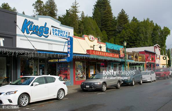 Guerneville Calfornia Main Street of small hippy town shows 5 10 store western in Russian River Valley Sonoma County logging area with cars