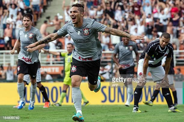 Guerrero of Corinthians celebrates after scoring a goal against Vasco da Gama during their Brazilian championship football match at Pacaembu stadium...