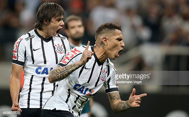 Guerrero of Corinthians celebrates scoring the first goal with Angel Romero during the match between Corinthians and Goias for the Brazilian Series A...