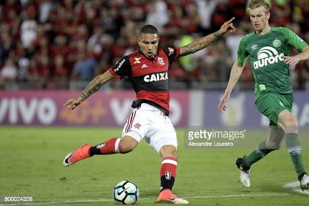 Guerrero of Flamengo battles for the ball with Douglas Grolli of Chapecoense during the match between Flamengo and Chapecoense as part of Brasileirao...