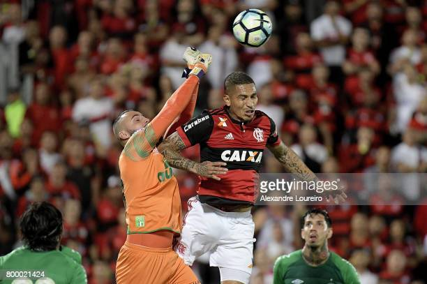 Guerrero of Flamengo battles for the ball with Jandrei of Chapecoense during the match between Flamengo and Chapecoense as part of Brasileirao Series...
