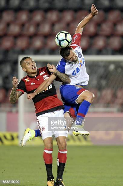 Guerrero of Flamengo battles for the ball with Lucas Fonseca of Bahia during the match between Flamengo and Bahia as part of Brasileirao Series A...