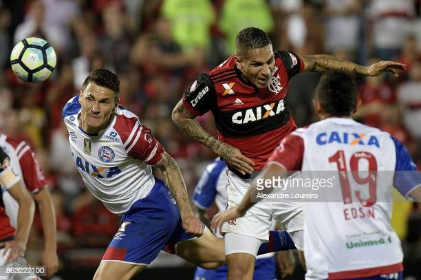 Guerrero of Flamengo battles for the ball with Tiago of Bahia during the match between Flamengo and Bahia as part of Brasileirao Series A 2017 at...