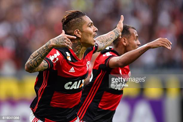 Guerrero of Flamengo celebrates a scored goal against Atletico MG during a match between Atletico MG and Flamengo as part of Brasileirao Series A...