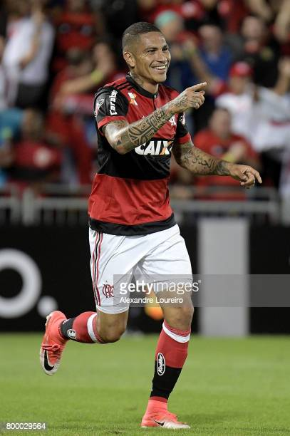 Guerrero of Flamengo celebrates a scored goal during the match between Flamengo and Chapecoense as part of Brasileirao Series A 2017 at Ilha do Urubu...