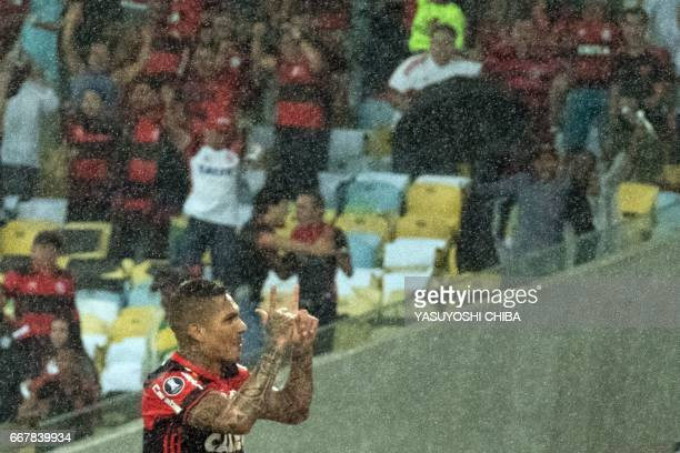 Guerrero of Flamengo celebrates after scoring the second goal against Atletico Paranaense during their 2017 Copa Libertadores football match at...