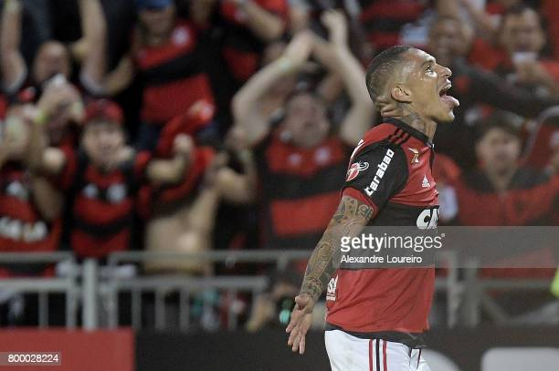 Guerrero of Flamengo celebrates his second scored goal during the match between Flamengo and Chapecoense as part of Brasileirao Series A 2017 at Ilha...