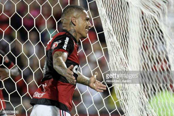 Guerrero of Flamengo celebrates his third scored goal during the match between Flamengo and Chapecoense as part of Brasileirao Series A 2017 at Ilha...