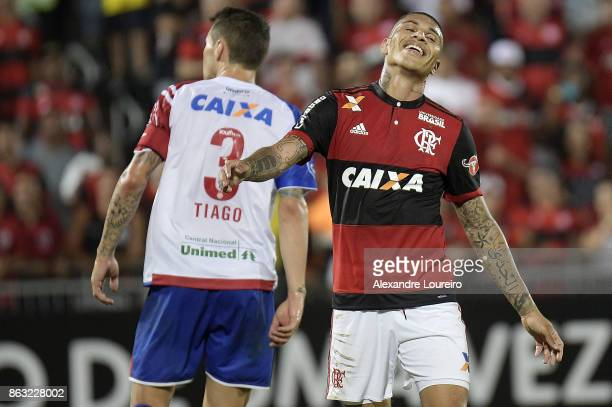 Guerrero of Flamengo reacts during the match between Flamengo and Bahia as part of Brasileirao Series A 2017 at Ilha do Urubu Stadium on October 19...