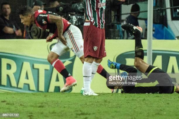Guerrero of Flamengo reacts upon scoring against Fluminense during their Copa Carioca final football match at Maracana stadium in Rio de Janeiro...