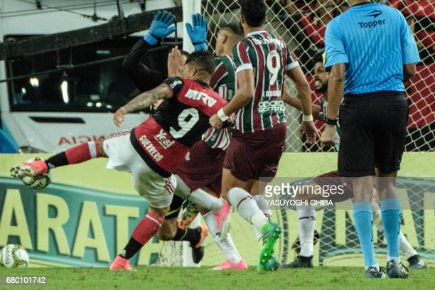 Guerrero of Flamengo scores against Fluminense during their Copa Carioca final football match at Maracana stadium in Rio de Janeiro Brazil on May 7...