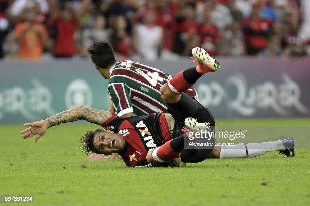 Guerrero of Flamengo reacts during the match between Fluminense and Flamengo as part of Brasileirao Series A 2017 at Maracana Stadium on June 18...