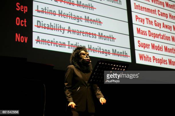 Guerrilla Girls appear in Onassis Cultural Center in Athens Greece March 9 2017 Guerrilla Girls is an anonymous group of radical feminist female...