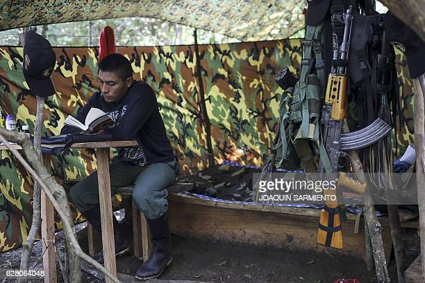 A FARC guerrilla reads a book during the days prior to their mobilization to the final concentration zones where they will hand over their weapons...