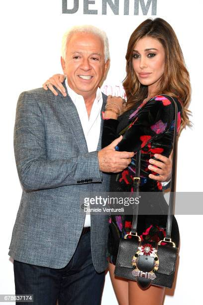 Guess designer Paul Marciano and Belen Rodriguez attend the Guess Foundation Denim Day 2017 at Palazzo Barberini on May 4 2017 in Rome Italy