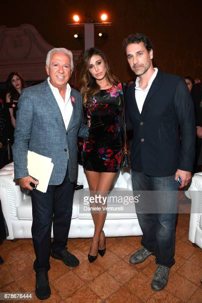 Guess designer Paul Marciano Belen Rodriguez and Raoul Bova attend the Guess Foundation Denim Day 2017 at Palazzo Barberini on May 4 2017 in Rome...