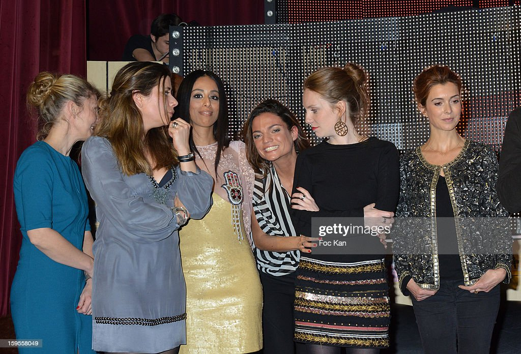 Delphine Apiou, a guest, Monia Kashmire, Francesca Antoniotti, Sophie Brafman and Veronique Mounier attend the Cherie 25 NRJ Party at VIP Room Theatre on January 15, 2013 in Paris, France.