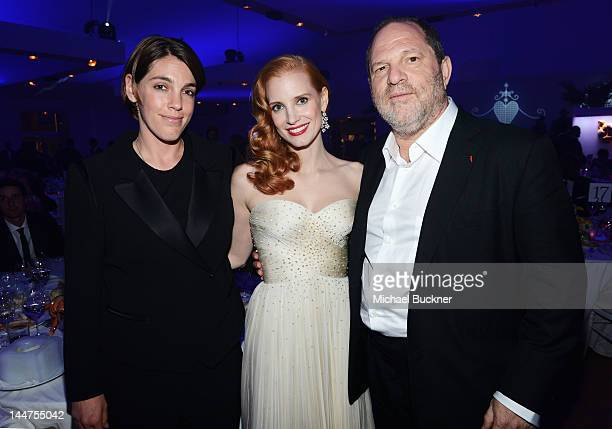 Guest actress Jessica Chastain and producer Harvey Weinstein attend the Haiti Carnival in Cannes Benefitting J/P HRO Artists for Peace and Justice...
