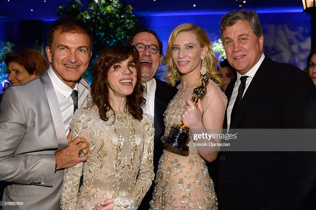 Guest, actress <a gi-track='captionPersonalityLinkClicked' href=/galleries/search?phrase=Sally+Hawkins&family=editorial&specificpeople=3465924 ng-click='$event.stopPropagation()'>Sally Hawkins</a>, Sony Pictures Classics Co-President Michael Barker, actress <a gi-track='captionPersonalityLinkClicked' href=/galleries/search?phrase=Cate+Blanchett&family=editorial&specificpeople=201621 ng-click='$event.stopPropagation()'>Cate Blanchett</a>, winner of Best Actress for 'Blue Jasmine,' and Sony Pictures Classics Co-President <a gi-track='captionPersonalityLinkClicked' href=/galleries/search?phrase=Tom+Bernard&family=editorial&specificpeople=204620 ng-click='$event.stopPropagation()'>Tom Bernard</a> attend the Oscars Governors Ball at Hollywood & Highland Center on March 2, 2014 in Hollywood, California.