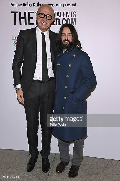 Guest and Alessandro Michele attend the Vogue Talent's Cornercom on February 25 2015 in Milan Italy