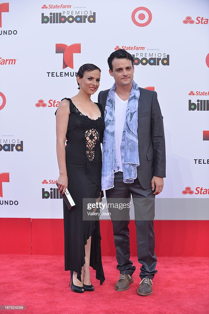 Guest and Ariel Texido arrive at Billboard Latin Music Awards 2013 at Bank United Center on April 25, 2013 in Miami, Florida.