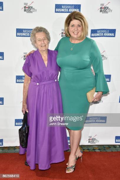 Guest and Becky Harris of HuskinsHarris Business Management arrive at the 2017 Nashville Business Journal Women In Music City on October 17 2017 in...