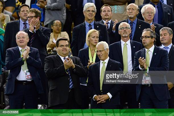 Guest and dignitaries applaud Team Germany during the FIFA Women's U20 Final at Olympic Stadium on August 24 2014 in Montreal Quebec Canada Germany...