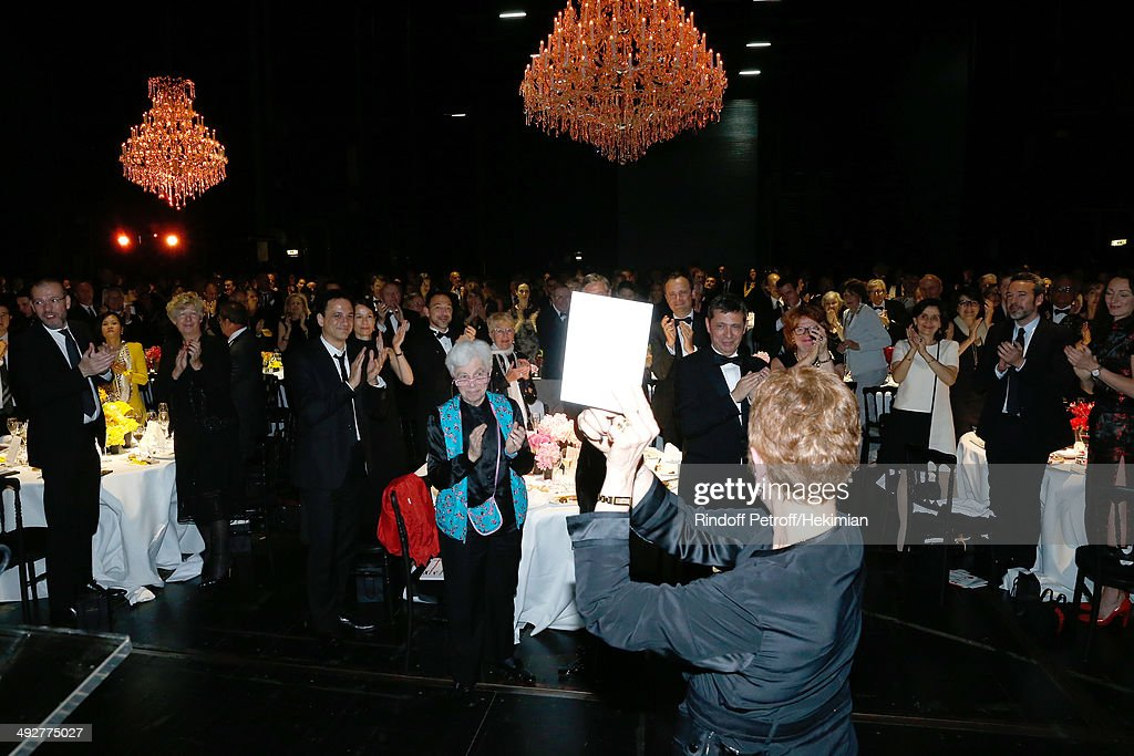 Guest and Doctor Leone Noelle Meyer (C in blue) pay Tribute to Dance Director of the 'Opera de Paris' Brigitte Lefevre at the AROP Charity Gala. Held at Opera Bastille on May 21, 2014 in Paris, France.