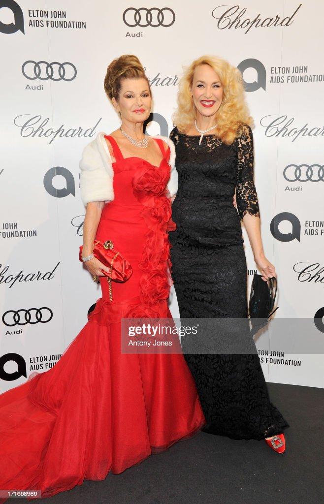 Guest (L) and Jerry Hall attend the 15th Annual White Tie and Tiara Ball to Benefit Elton John AIDS Foundation in Association with Chopard at Woodside on June 27, 2013 in Windsor, England. No sales to online/digital media worldwide until the 14th of July. No sales before July 14th, 2013 in UK, Spain, Switzerland, Mexico, Dubai, Russia, Serbia, Bulgaria, Turkey, Argentina, Chile, Peru, Ecuador, Colombia, Venezuela, Puerto Rico, Dominican Republic, Greece, Canada, Thailand, Indonesia, Morocco, Malaysia, India, Pakistan, Nigeria. All pictures are for editorial use only and mention of 'Chopard' and 'The Elton John Aids Foundation' are compulsory. No sales ever to Ok, Now, Closer, Reveal, Heat, Look or Grazia magazines in the United Kingdom. No sales ever to any jewellers or watchmakers other than Chopard