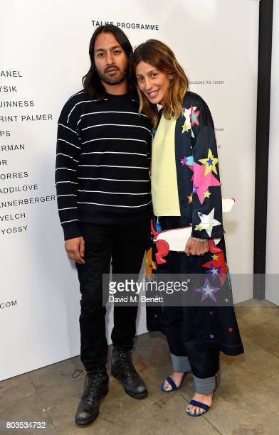Guest and Mira Mikati attend the Fashion Illustration Gallery Art Fair private view at The Shop at Bluebird cohosted b Lucinda Chambers and Wendy Yu...