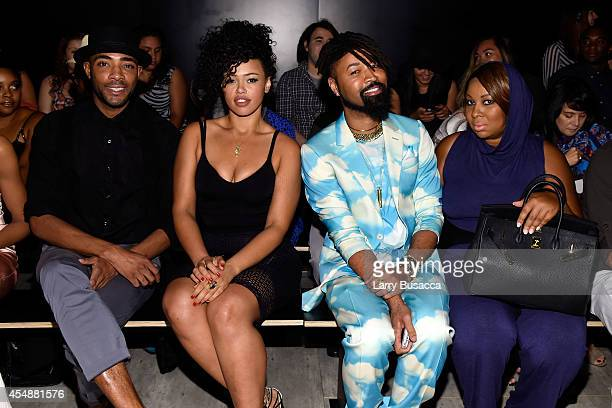 Guest Andre singer Elle Varner stylist Ty Hunter and Claire Sulmers attend the Etxeberria fashion show during MercedesBenz Fashion Week Spring 2015...