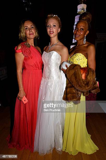 Guest Anna Ermakova and Angela Ermakova attend the Queen Charlotte Ball on September 11 2015 in London England Queen Charlotte's Ball is the pinnacle...