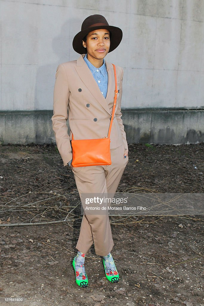 A guest arrives at Celine show at Paris Fashion Week Fall/Winter 2012 on March 6 2011 in Paris France