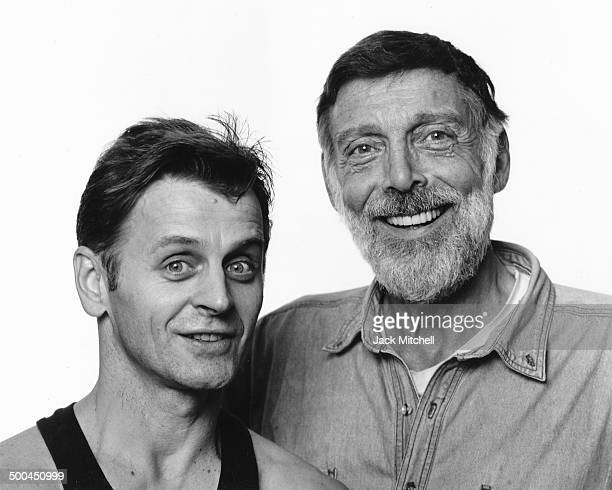 Guest artist Mikhail Baryshnikov photographed with Paul Taylor before performing with his dance company in October 1994