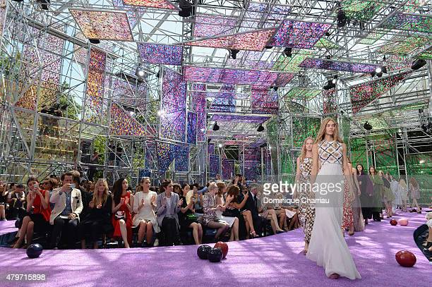 Guest attend during the Christian Dior show as part of Paris Fashion Week Haute Couture Fall/Winter 2015/2016 on July 6 2015 in Paris France