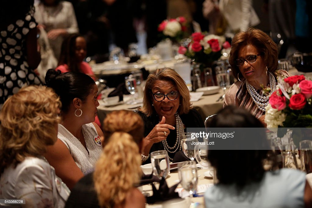 Guest attend the Rainbow PUSH Coalition's International Women's Luncheon where Democratic presidential candidate Hillary Clinton delivered a keynote speech duringJune 27, 2016 in Chicago Illinois. Clinton addressed gun violence across the country and referred to the Orlando, Florida Pulse nightclub shooting and the uptick in gun crime across Chicago.