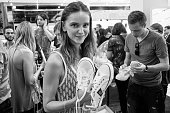 Guest attends at presentation of gym shoes 'DVA MYACHA' Brand at Tsvetnoy Central Market on July 13 2016 in Moscow Russia Restarting of a gym shoes...