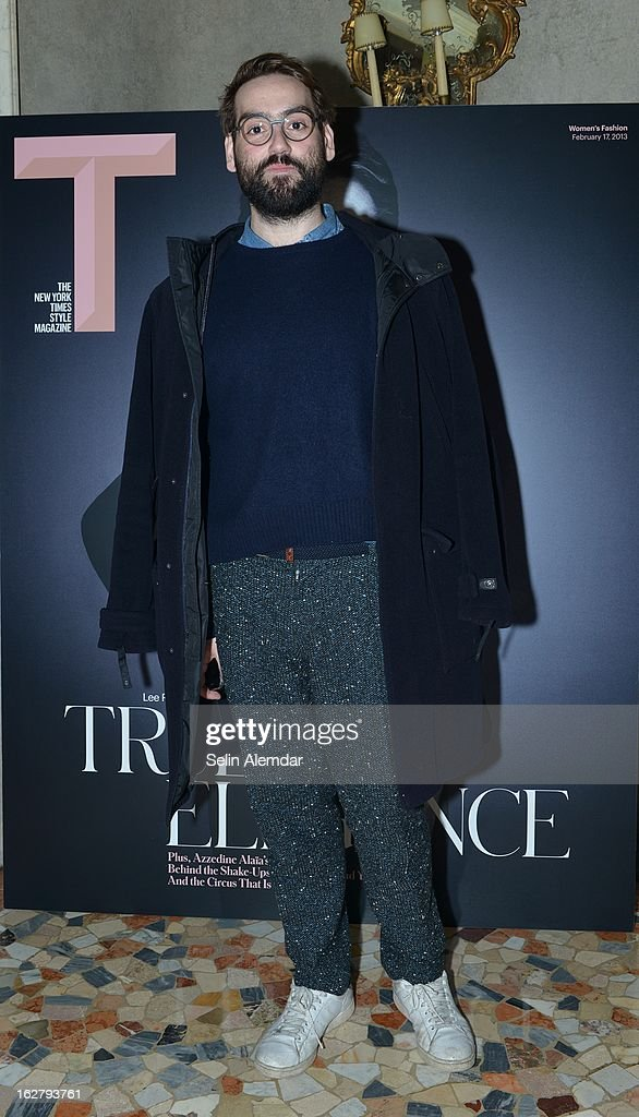 A guest attends Deborah Needleman's New York Times inaugural issue party during Milan Fashion Week Womenswear Fall/Winter 2013/14 on February 23, 2013 in Milan, Italy.