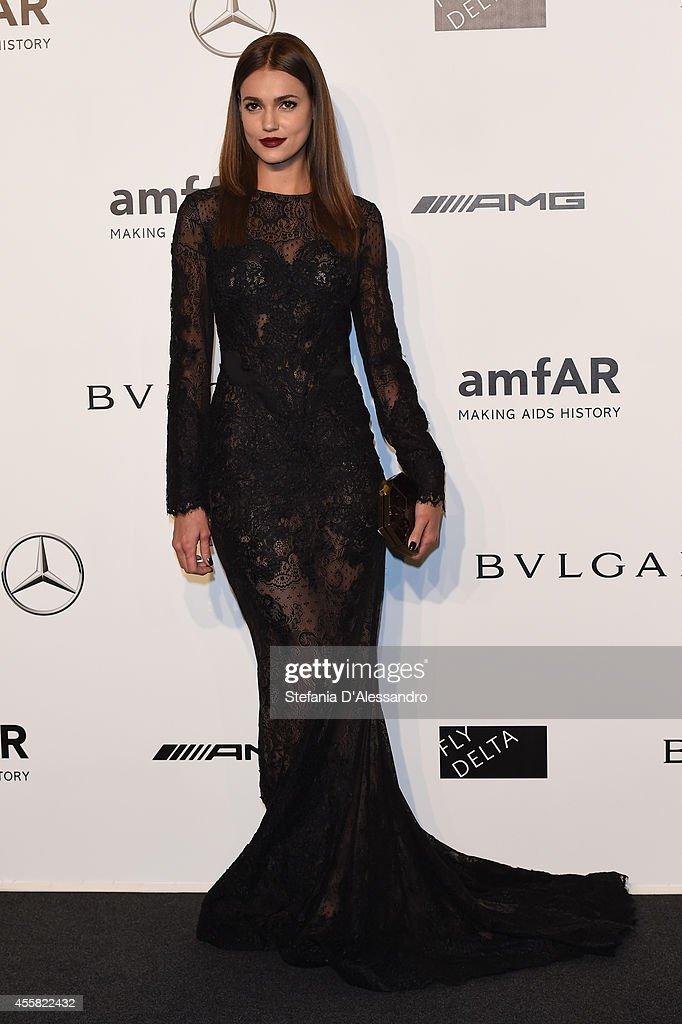 Guest attends the amfAR Milano 2014 - Gala as part of Milan Fashion Week Womenswear Spring/Summer 2015 on September 20, 2014 in Milan, Italy.