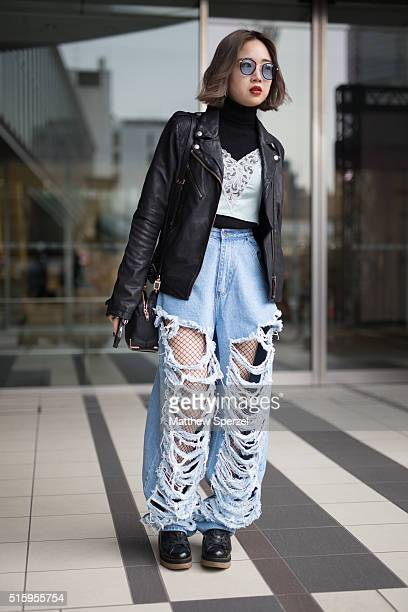 A guest attends the Anne Sofie Madsen show during Tokyo Fashion Weekon March 16 2016 in Tokyo Japan