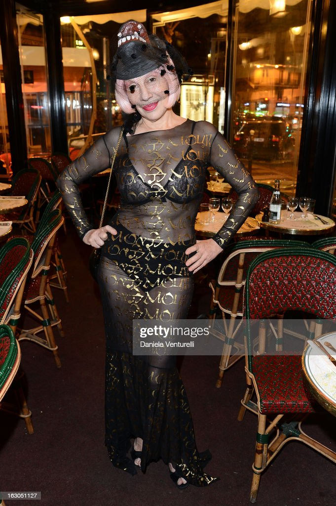 Guest attends the Bulgari And Purple Magazine Party at Cafe de Flore on March 3, 2013 in Paris, France.
