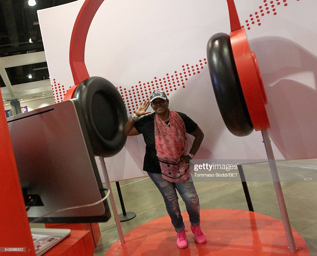 A guest attends the Coke music studio during the 2016 BET Experience on June 25, 2016 in Los Angeles, California.