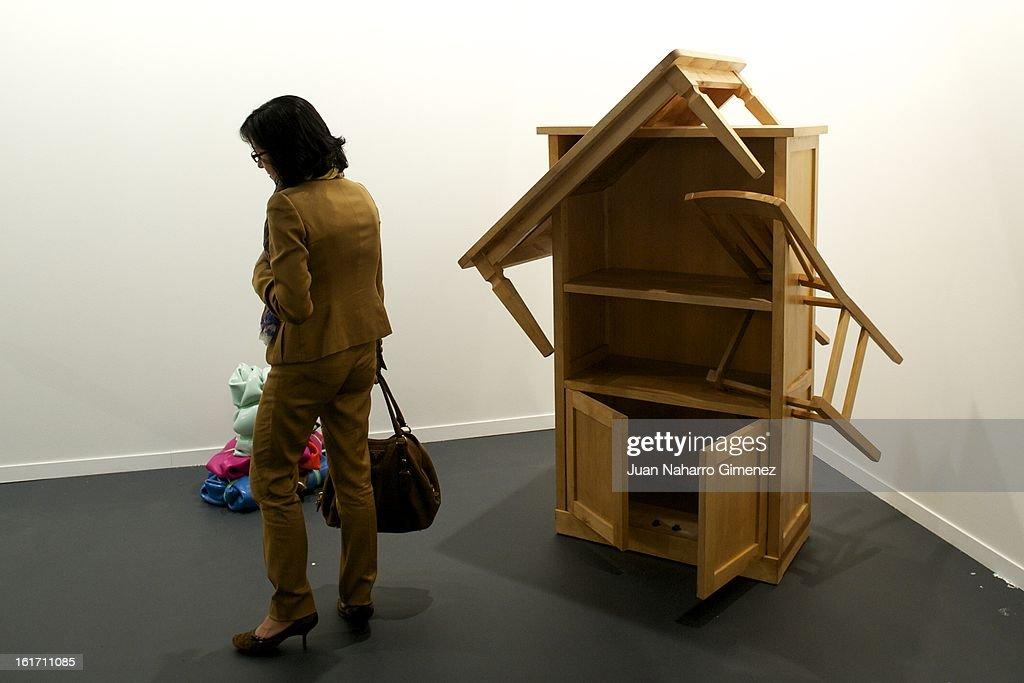 A guest attends the 'Feria Internacional de Arte Contemporaneo' (ARCO) at Ifema on February 14, 2013 in Madrid, Spain.