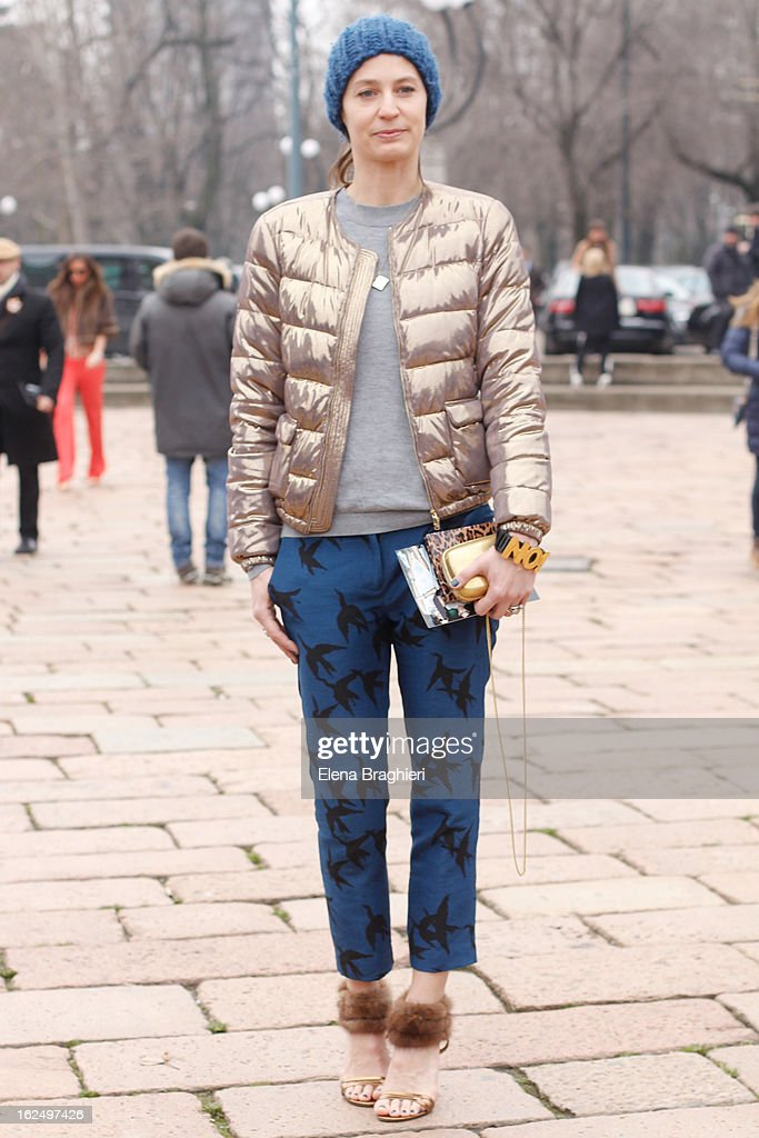 A guest attends the Milan Fashion Week Womenswear Fall/Winter 2013/14 on February 23, 2013 in Milan, Italy.