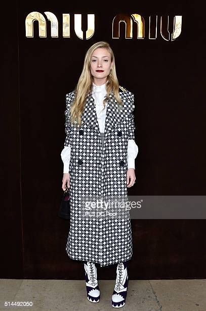 A guest attends the Miu Miu show as part of the Paris Fashion Week Womenswear Fall / Winter 2016 on March 9 2016 in Paris France