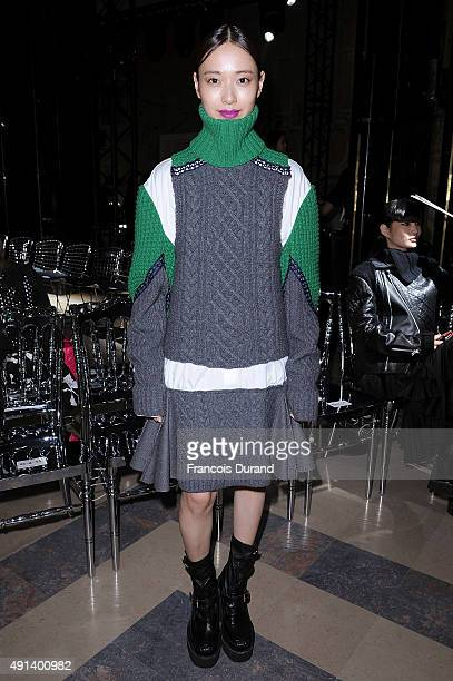 A guest attends the Sacai show as part of the Paris Fashion Week Womenswear Spring/Summer 2016 on October 5 2015 in Paris France