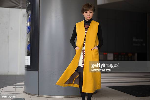 A guest attends the Tokyo New Age show during Tokyo Fashion Week on March 18 2016 in Tokyo Japan