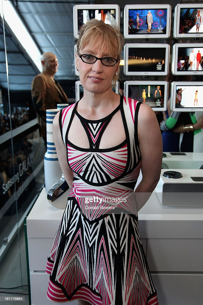 A guest attends the VIP reception for Herve Leger by Max Azria hosted by Samsung Galaxy Lounge at Mercedes-Benz Fashion Week Fall 2013 Collections at Lincoln Center on February 9, 2013 in New York City.